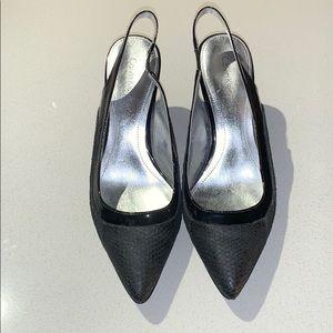 Calvin Klein Black Strap Heels Snakeskin